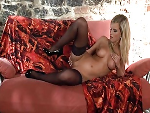 Picture Hot Blonde In Stockings Panties And Stilettoes
