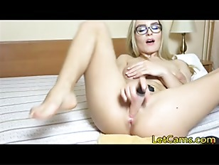 Blonde wear glass masturbate w