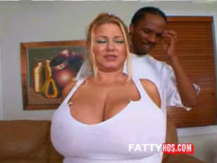 Picture Blonde BBW Sucks A Black Cock