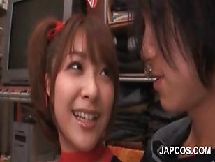 Picture Japanese Redhead Sweetie Sensually Tongue Ki...