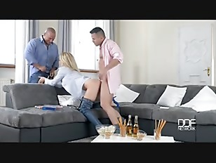 Picture Blonde Big Boobs Babe Dp Fuck On Couch