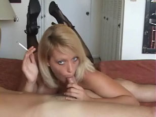 Blonde Milf Smokes and gives a hot Blowjob