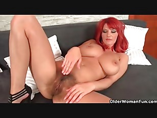 Highly sexed mom gives her hairy pussy a treat 8