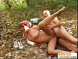 Wild granny fucking in the woods