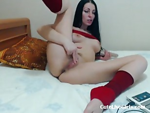 Picture Brunette Having Fun With Her Favorite Toy 3...