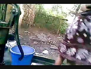 Picture Village Girl Bathing Outdoor