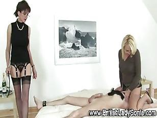 Picture Femdom Horny Mature Skanks Jerk Off Cock