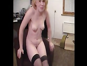 Sexy Blonde Girl Dancing and striptea...