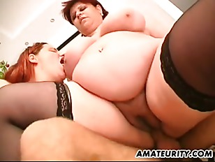 Fat Amateur Milfs Home Threesome With Facial