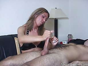 Picture Mean Mistress Painfully Jerks Off A Slaves D...