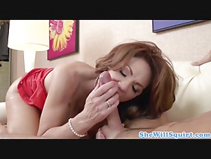 Busty mature squirts during co