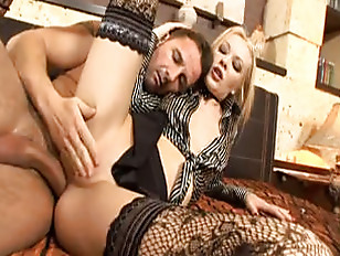 Picture Stockinged Blonde Screams For Anal