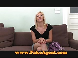 Innocent blonde takes first time facial in casting