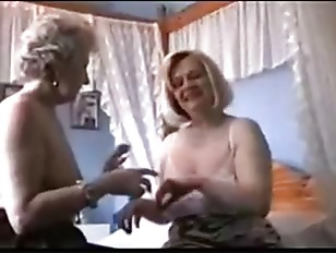 Two Grannies Play In Lingerie And Shower