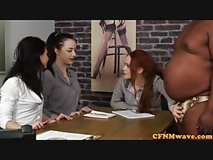 Picture Casting CFNM Female Agent Tugging Black Cock