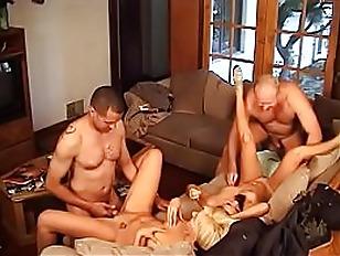 Hot blonde Summer Nite  and asian brunette Roxy Jezel fuck two random guys on a sofa