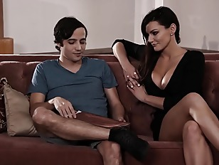 Son fucks step-mom on the couch