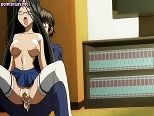 Anime with glasses gives blowjob