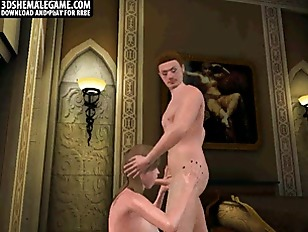 Picture Sexy 3D Cartoon Shemale Sucks Cock And Gets...