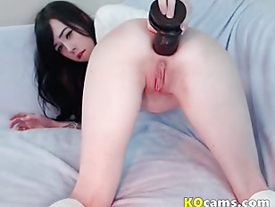 Black dildo drilling tiny...
