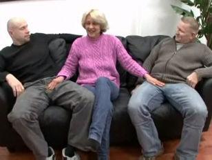 Blonde Granny In Threesome...