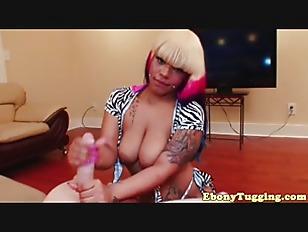 Chubby Ebony Tugs Dick...