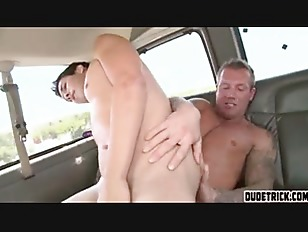 Picture Two Horny Guys Fuck In A Car