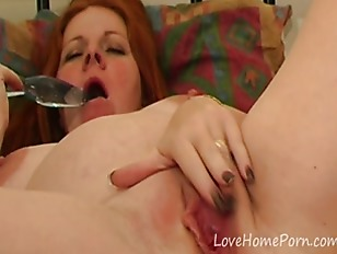 Redhead wife plays around with her toy