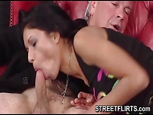 brunette young babe and old man