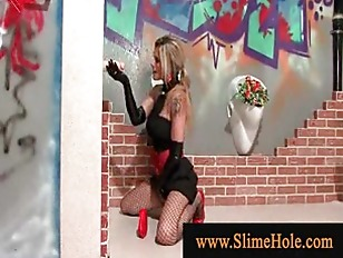 Picture Sleazy Blond At Glory Hole Handjob