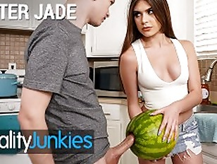 Reality Junkies Kinky Step sister Winter Jade walks in on Step bro and his Huge Cock