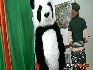 Picture Panda Takes Babe Hostage And Gets Some Tit