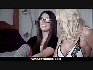 FamilyStrokes - Stepmom Shares Huge Cock With Horny Daughter