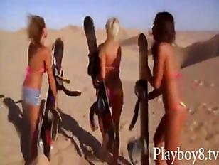 Amazing Bikini Hotties Sandboarding...