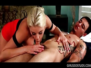 Busty Blonde Pornstar Giving...