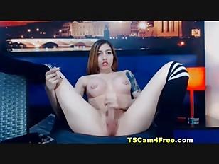 Brunette Shemale Jerking Her Hard Cock
