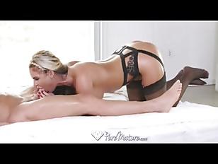 Sexy blonde MILF fucked in black lingerie