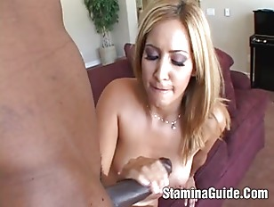 Picture Hot Short Haired Blonde Babe Sucking Big Bla...