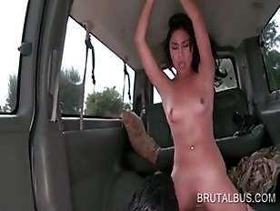 Naked asian temptress cunt drilled hard in the sex bus