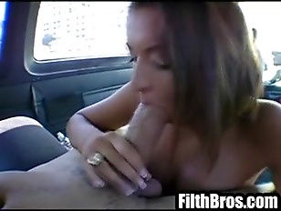 Picture Gorgeous Brunette Gets In A Car And Gives He...