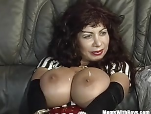Explosive massive mature tits cum showered gangbang
