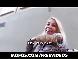 Platinum blonde Czech girl is picked up in the street and paid to fuck