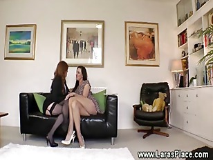 Mature lesbian lady seduced into sex