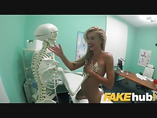Fake Hospital Sweet blonde Russian eats docs cum after doggystyle fucking