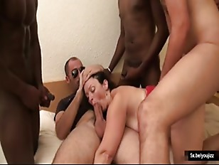 Sylvie came back to get fucked in a hot gangbang