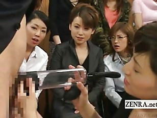 Picture Subtitled CFNM Japan Milf TV Penis Pump Demo...