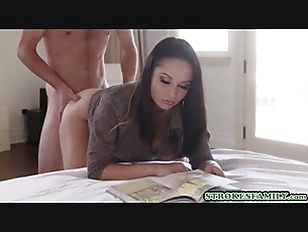 My brunette stepmom soothes my erection