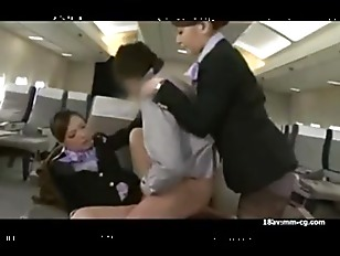 Airline Stewardess 3some In...