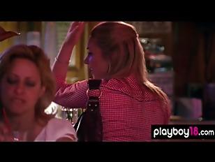 Sweaty dancing ends in striptease on the dance floor by busty blondies