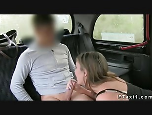 British brown haired amateur with big ass fucking in taxi